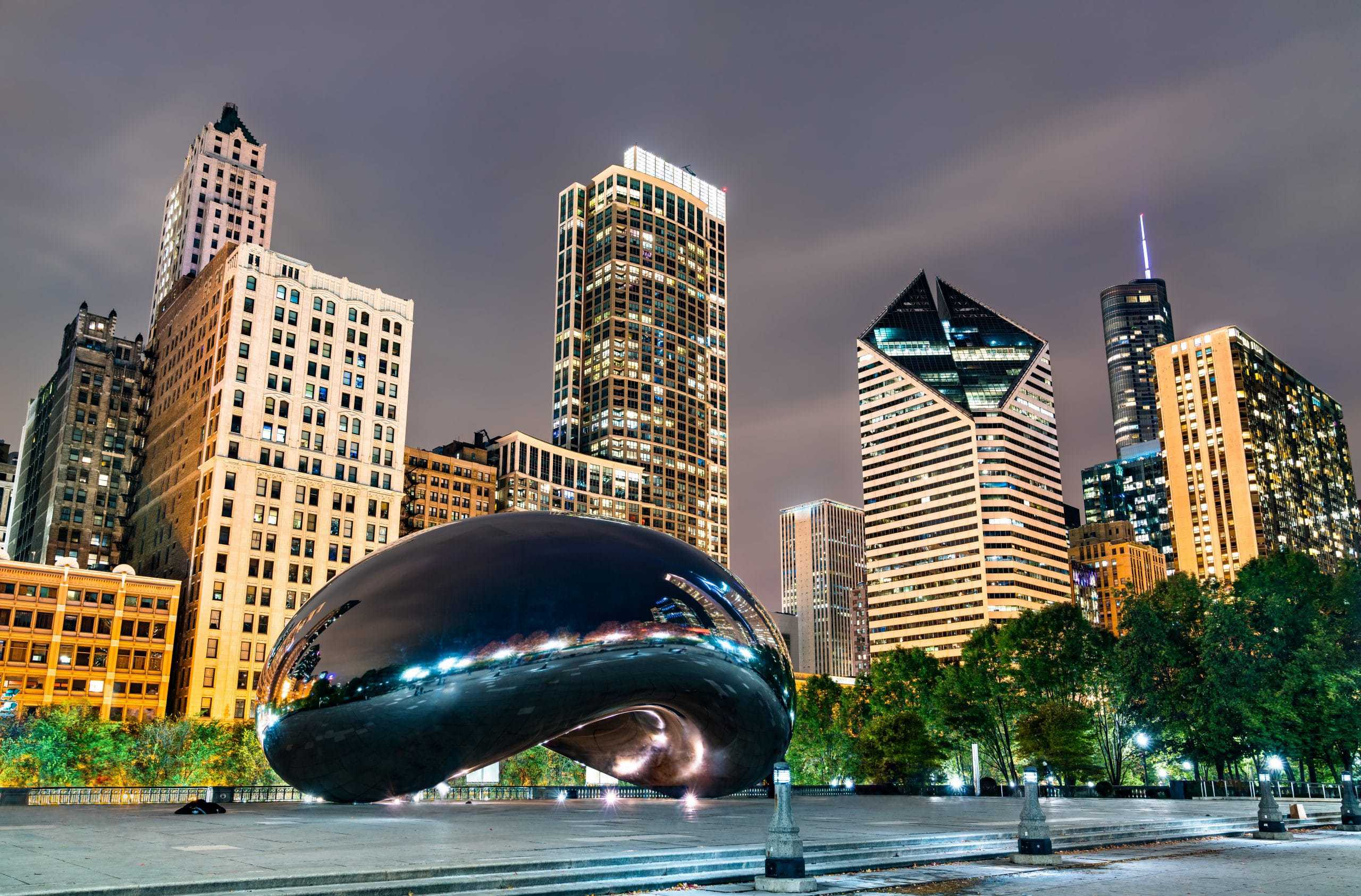 Cloud Gate, a public sculpture at Millennium Park in Chicago, USA
