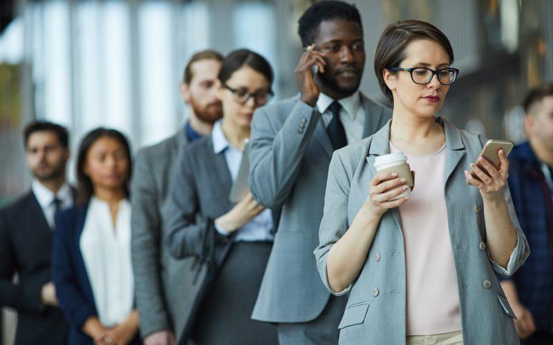 Entrepreneurs standing in line